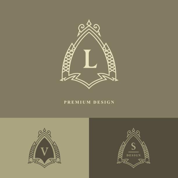 Monogram design elements, graceful template. Calligraphic elegant line art logo design. Letter emblem L, V, S for Royalty, business card, Boutique, Hotel, Restaurant, wine. Frame. Vector illustration vector art illustration