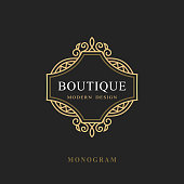 Vector illustration of Monogram Design Elements, Graceful Template. Calligraphic Elegant Line Art Logo Design. Emblem Sign for Royalty, Business Card, Boutique, Hotel, Restaurant, Wine. Frame for Label.