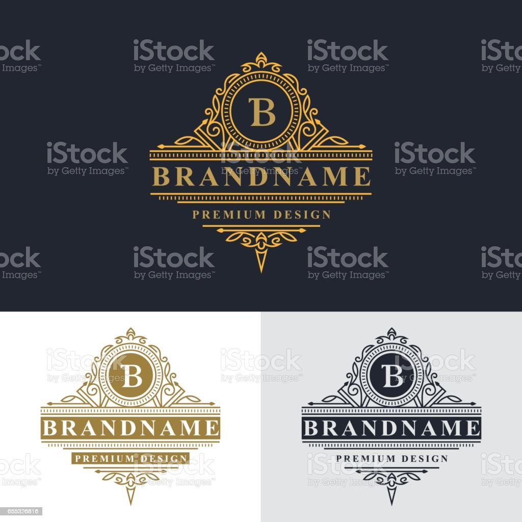 Monogram Design Elements Graceful Template Elegant Line Art Logo ...