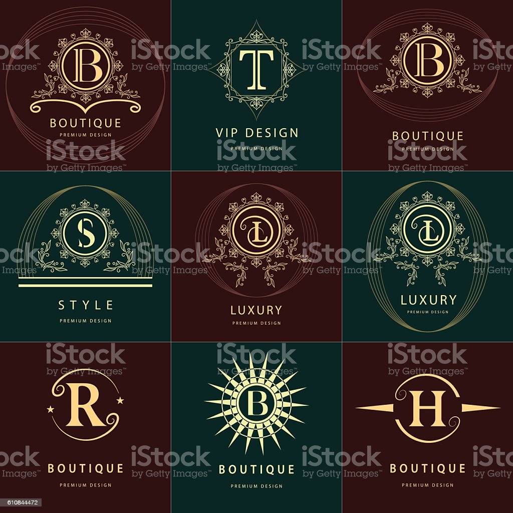 Monogram design elements, graceful template. English letters. Business emblem. Vector vector art illustration