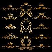 Set of gold monogram for graphic design on black background. Royal graceful frame, filigree border, crown, floral element in vintage style for wedding invitation, card. Vector illustration EPS10