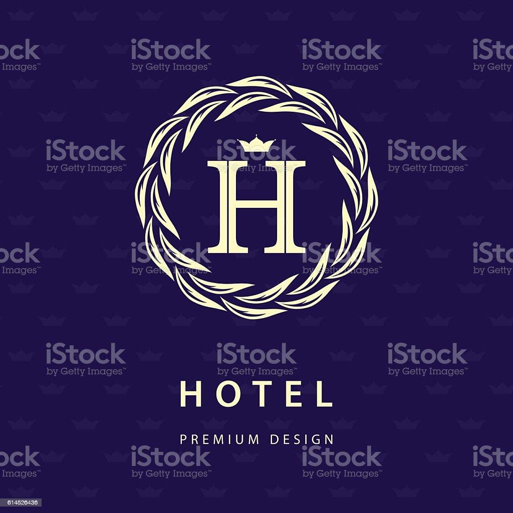 Monogram Design Graceful Template Elegant Business Emblem Letter H Vector Lizenzfreies