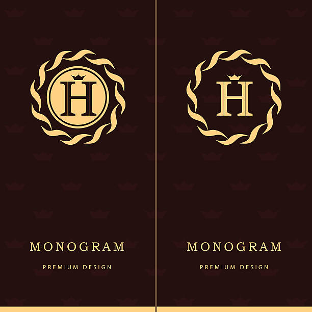 monogram design graceful template. elegant business emblem.  letter h. vector - h harfi stock illustrations, clip art, cartoons, & icons