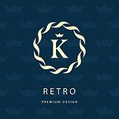 Monogram design graceful template. Elegant business emblem.  Letter K. Vector