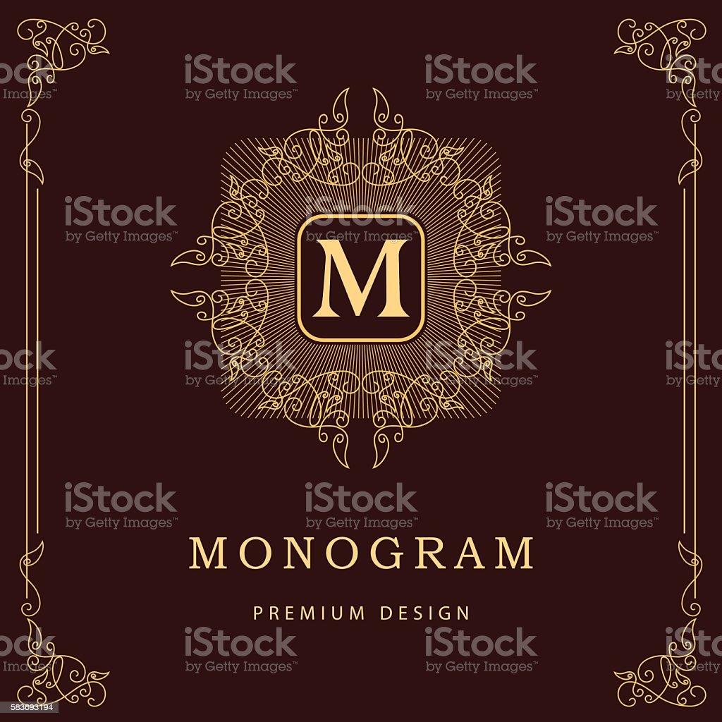 monogram design graceful template elegant business emblem letter m
