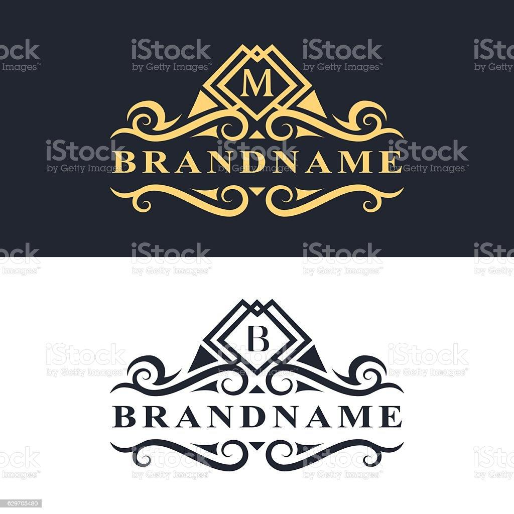 Wzór Z Monogramem Gracji Wzór Eleganckie Biznes Godło Litera M