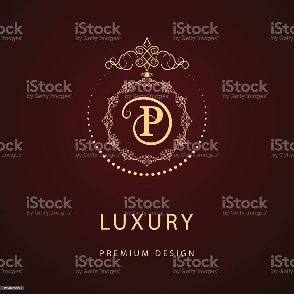 Monogram Design Graceful Template Elegant Business Emblem Letter P Vector Royalty Free