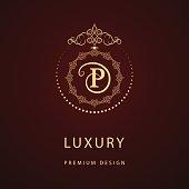 Vector illustration of Monogram design elements, graceful template. Calligraphic elegant line art design. Letter emblem sign P for Royalty, business card, Boutique, Hotel, Restaurant, Cafe, Jewelry