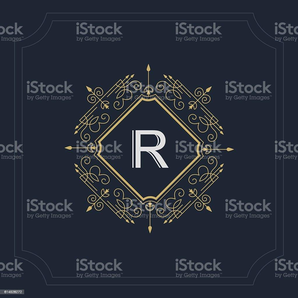 Monogram Design Graceful Template Elegant Business Emblem Letter R Vector Lizenzfreies