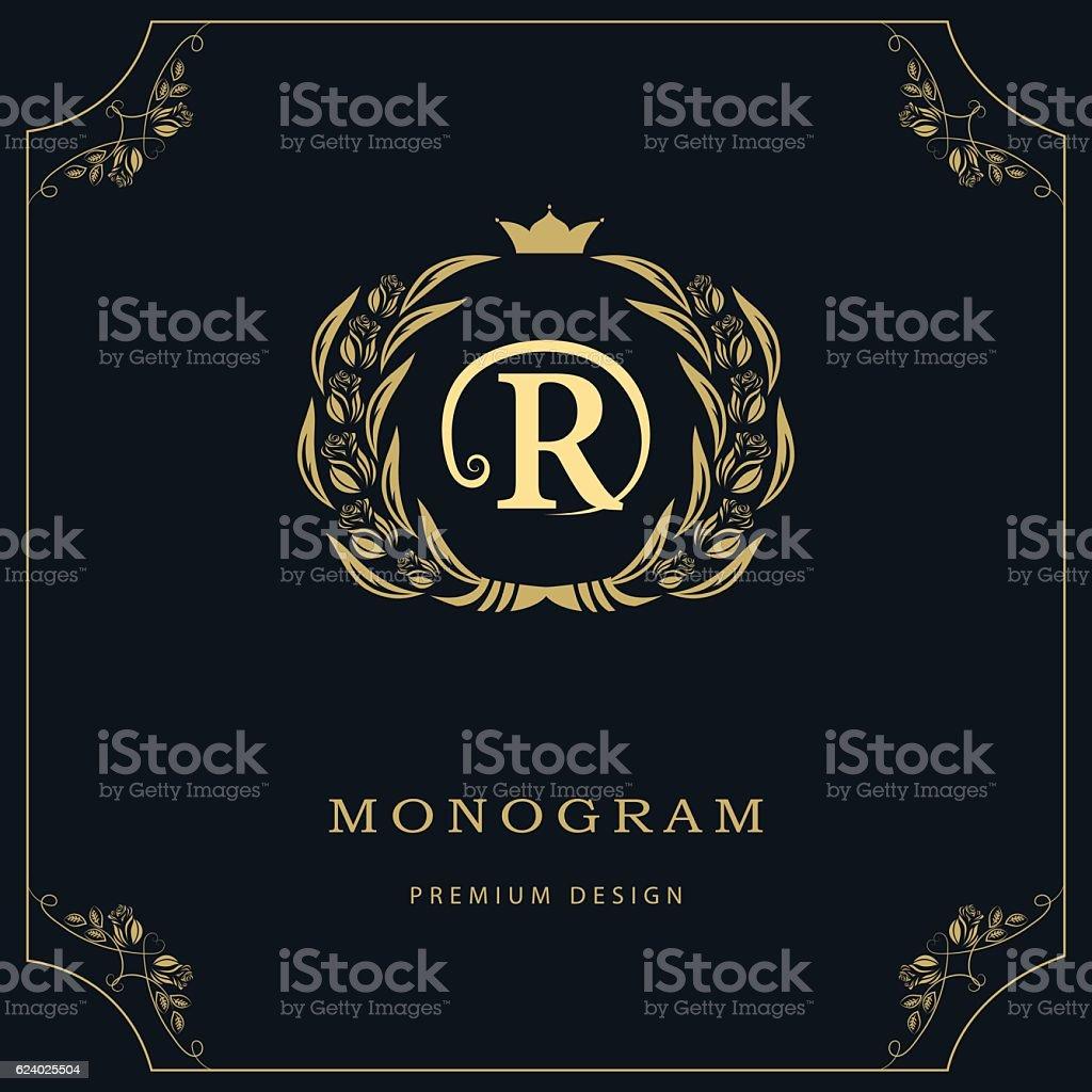 monogram design graceful template elegant business emblem letter r vector royalty free