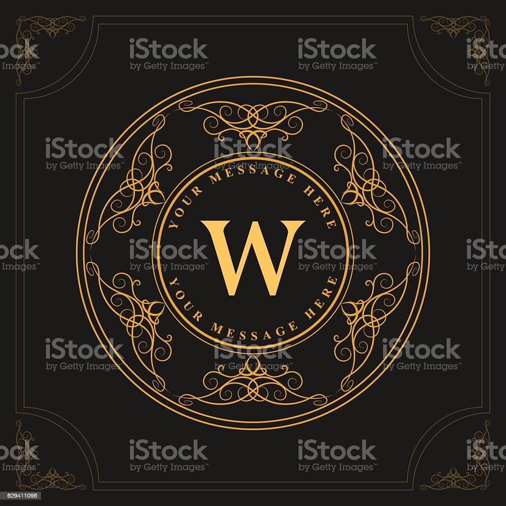monogram design graceful template elegant business emblem letter w vector royalty free
