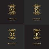 Vector illustration of Monogram design elements, graceful template. Calligraphic elegant line art design. Letter emblem sign M, N, O, P for Royalty, business card, Boutique, Hotel, Cafe, Jewelry