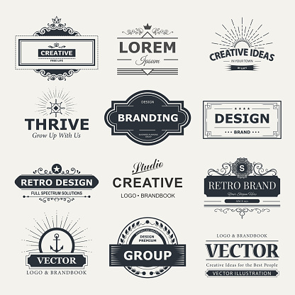 Retro Vintage labels Insignias set. Vector design elements business signs, branding, badges, objects, identity, labels.