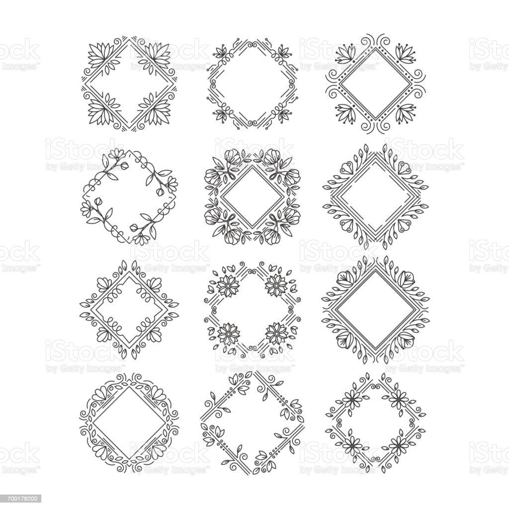 Ilustración de Monograma Flores Marcos y más banco de imágenes de ...