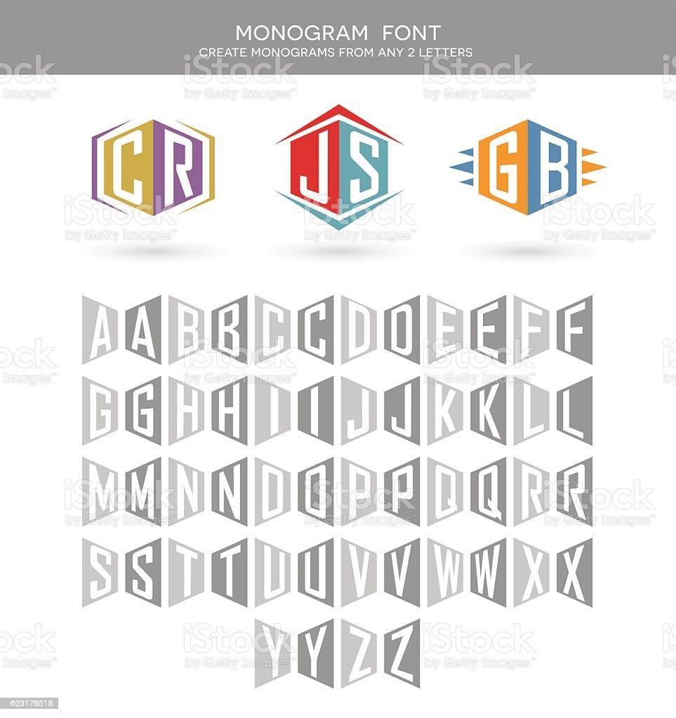 Monogram font for building 2 letter monograms. vector art illustration