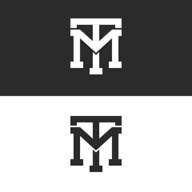 Monogram hipster initials TM logo letters set, overlapping two bold letters T M alliance, linear weaving mark MT for business card emblem Monogram hipster initials TM logo letters set, overlapping two bold letters T M alliance, linear weaving mark MT for business card emblem letter t stock illustrations