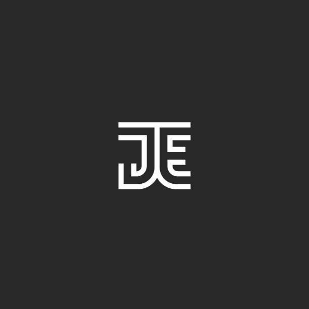 Monogram initials JE or EJ logo letters minimalist style, creative design identity emblem two linked letters J and E wedding card emblem Monogram initials JE or EJ logo letters minimalist style, creative design identity emblem two linked letters J and E wedding card emblem letter j stock illustrations