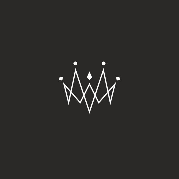 illustrations, cliparts, dessins animés et icônes de icône de crown jewel monogram, maquette emblème bijoux, style de lignes fines liées - diademe