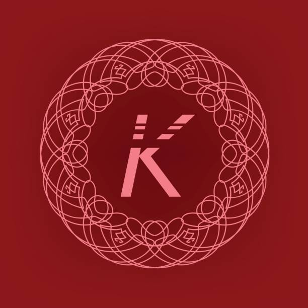 Royalty Free Letter K In Asian Style Clip Art Vector Images