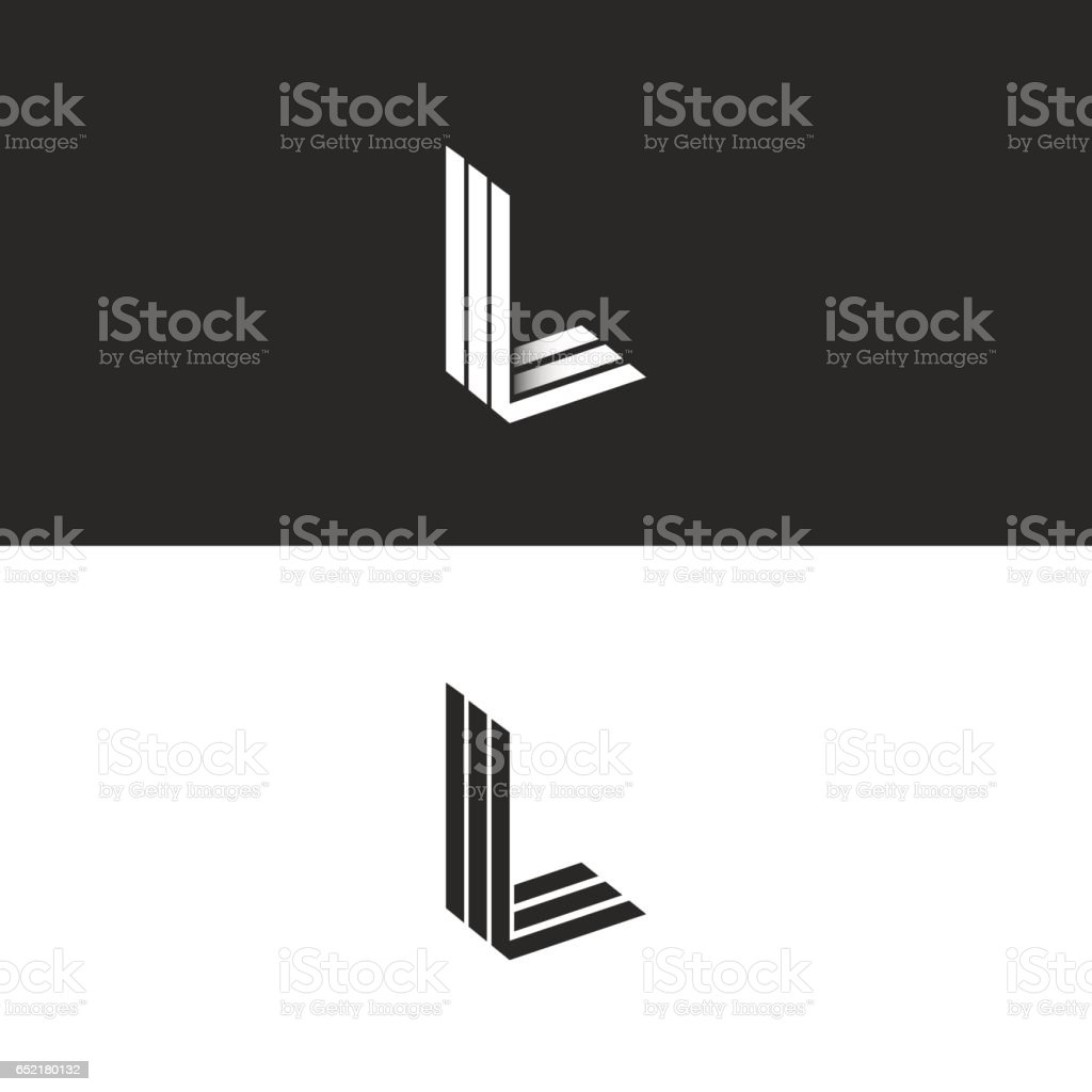 Monogram L logo hipster letter, isometric shape LLL emblem 3D parallel thin line, mockup linear initials typography design element vector art illustration