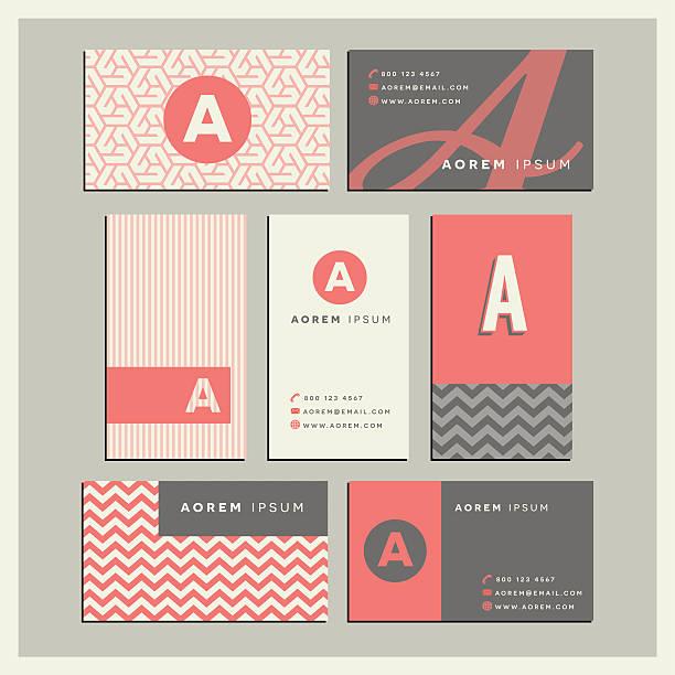 monogram letter A business card designs Set of coordinating business card designs with the monogram letter A business cards and stationery stock illustrations