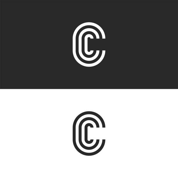 Monogram letter C logo CCC crest initials business card emblem, parallel lines shape Monogram letter C logo CCC crest initials business card emblem, parallel lines shape letter c stock illustrations