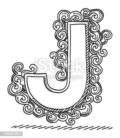 istock Monogram Letter J Swirl Pattern Drawing 1290823827