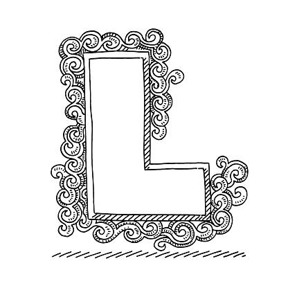 Monogram Letter L Swirl Pattern Drawing