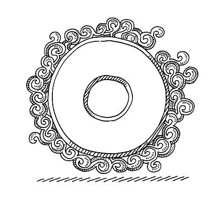 Monogram Letter O Swirl Pattern Drawing