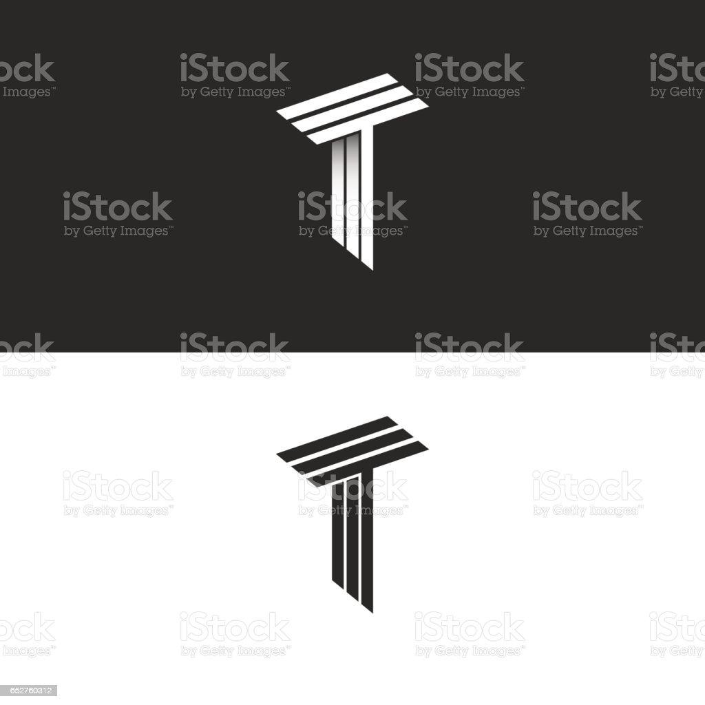 14cd297e17 Monograma letra T logo blanco y negro isométricas iniciales juntos TTT  icono, elemento de diseño