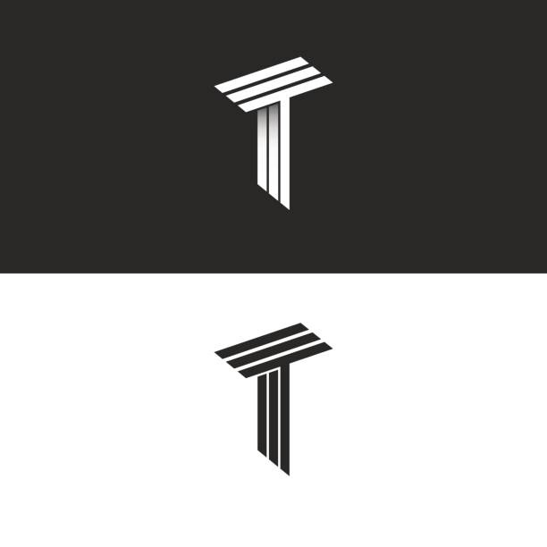 Monogram letter T logo black and white isometric initials together TTT icon, 3D hipster typography design element Monogram letter T logo black and white isometric initials together TTT icon, 3D hipster typography design element letter t stock illustrations