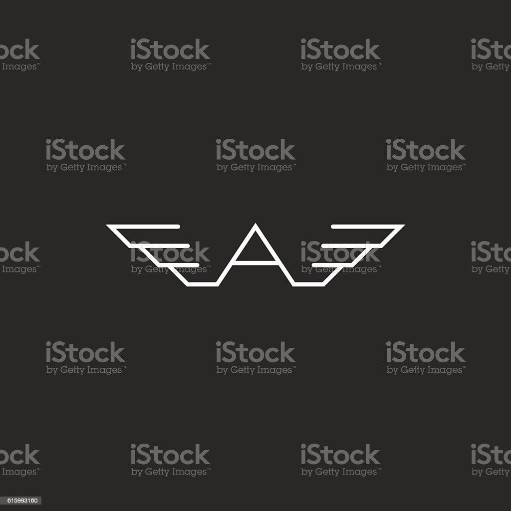 monogram logo a letter wings black white mockup flying emblem