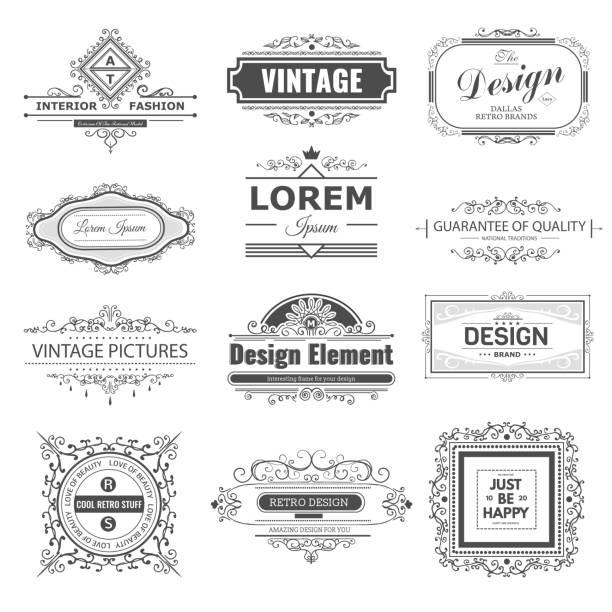 ilustrações, clipart, desenhos animados e ícones de monograma de luxo - bordas florais