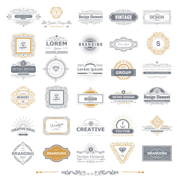 Monogram  luxury Monogram  luxury  template with flourishes calligraphic elegant ornament elements. Luxury elegant design for cafe, restaurant, boutique, hotel, shop, store, heraldic, jewelry, fashion frame border stock illustrations