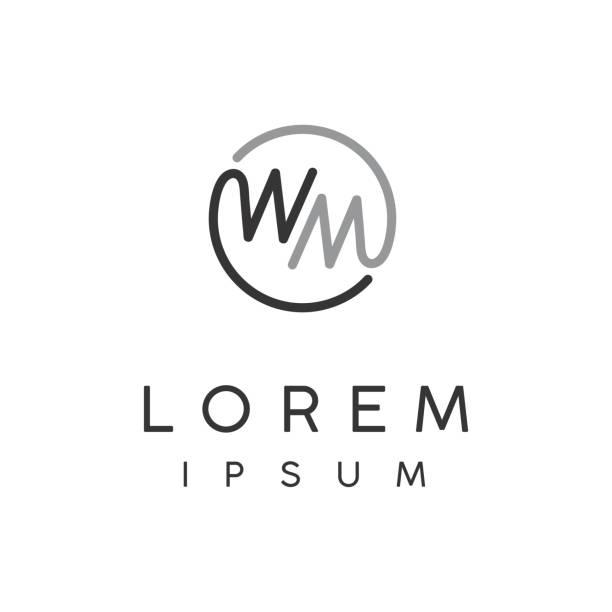 Monogram MW / Initial WM for design inspiration image description w logo stock illustrations