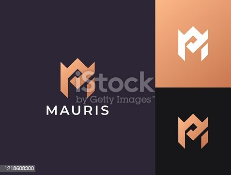 istock Monogram of two letters AM or MA. Vector template. 1218608300