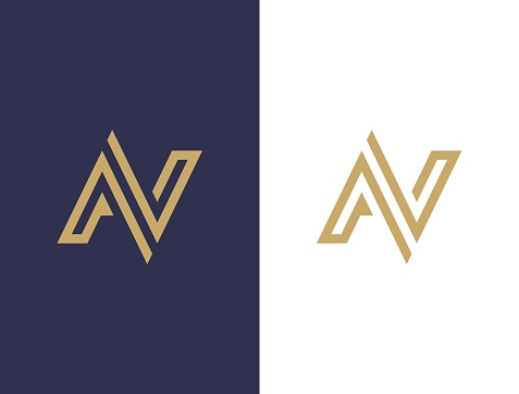 Monogram of two letters AV. Vector template. A&V sign design template.