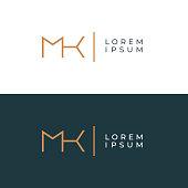 MK. Monogram of Two letters M & K. Luxury, simple, minimal and elegant MK logotype design. Vector illustration template.