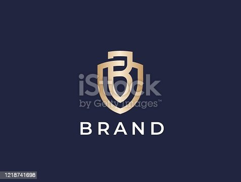 istock Monogram of two letters OB or BO. Letter B shield sign. 1218741698