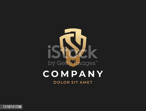 istock Monogram of two letters OS or SO. Letter S shield sign. 1218741706