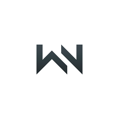 WN. Monogram of Two letters W & N . Luxury, simple, minimal and elegant WN logotype design. Vector illustration template.
