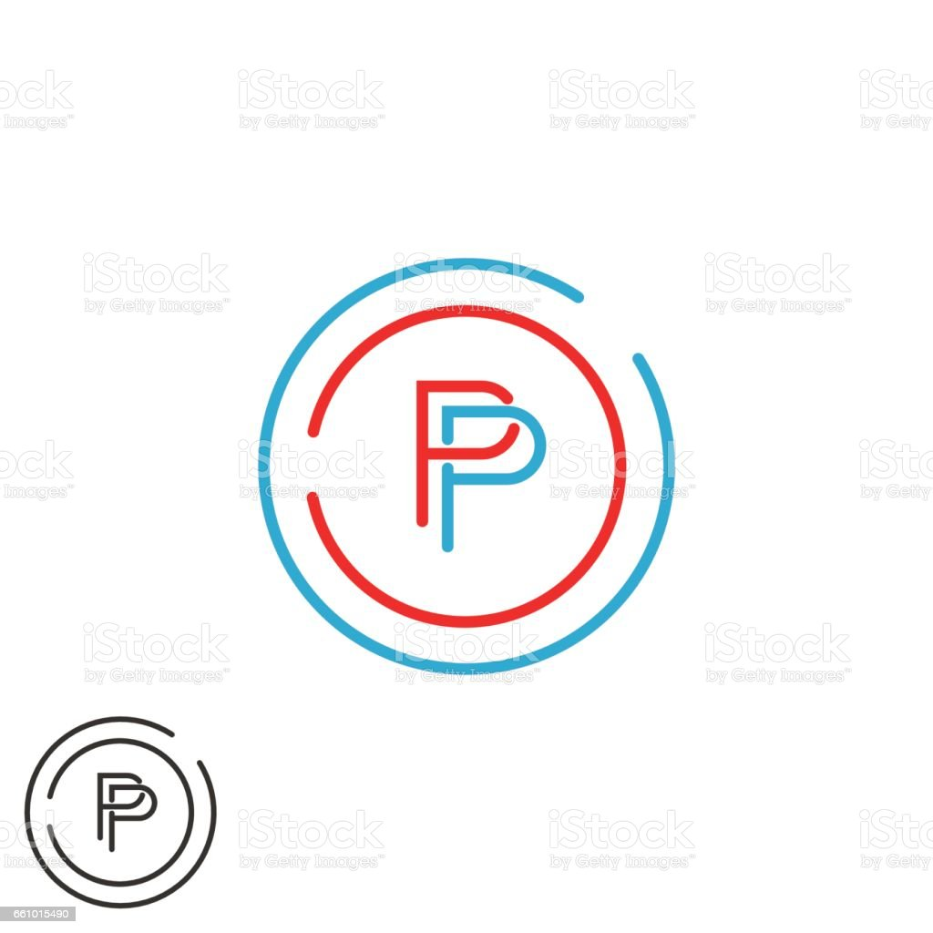 monogram p letter symbol mockup initial modern hipster thin line emblem template red and