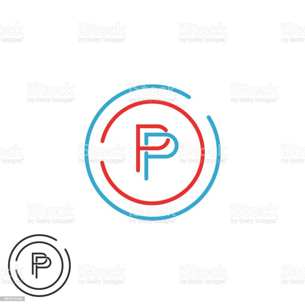Monogram P letter symbol mockup, initial modern hipster thin line emblem template, red and blue circle frame design element template vector art illustration