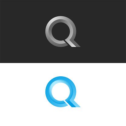 Monogram set letter Q logo 3d shape calligraphic typography design element, faceted circle shape, stylish emblem for fashion boutique