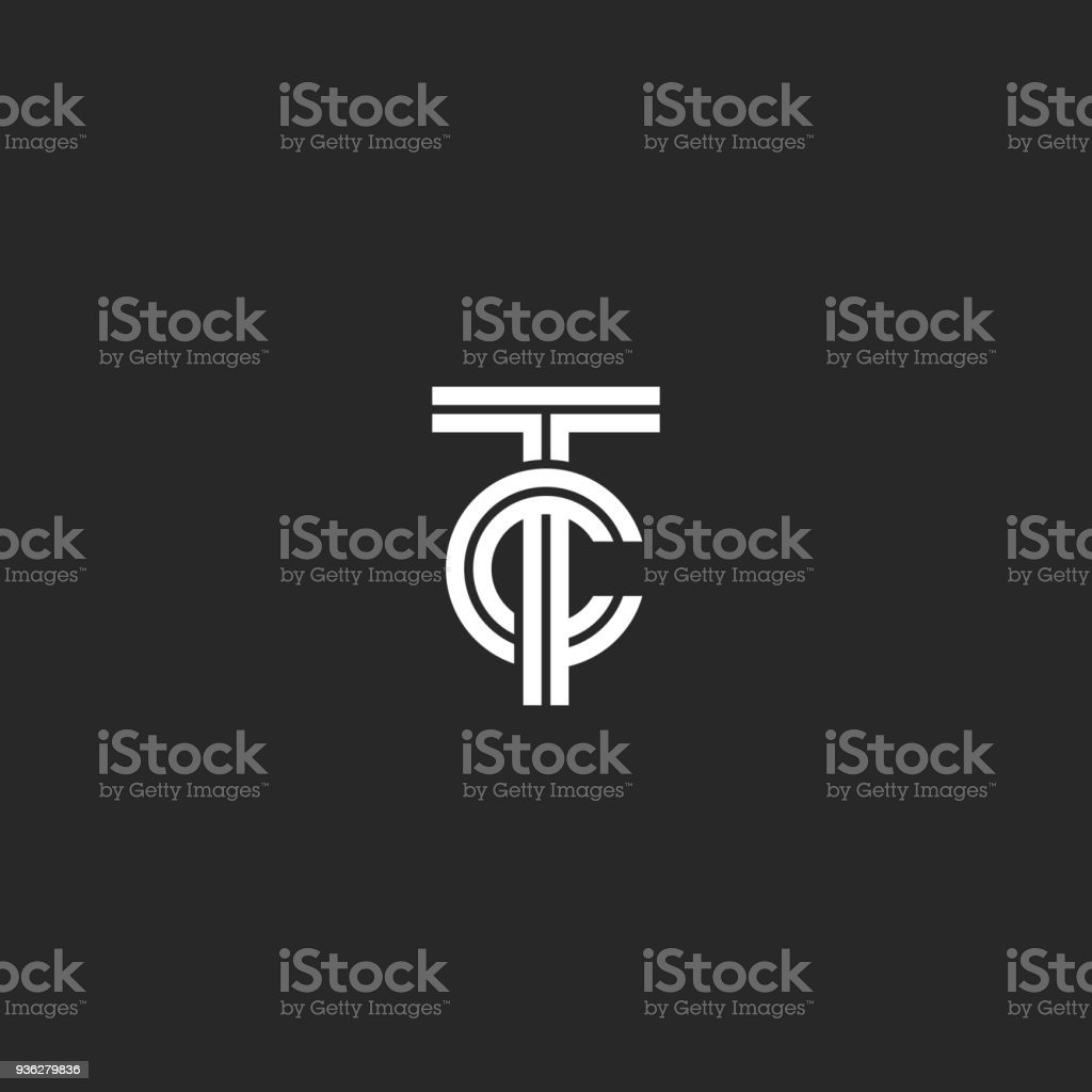 Monogram Tc Symbol Hipster Initials Ct For Business Cards Or