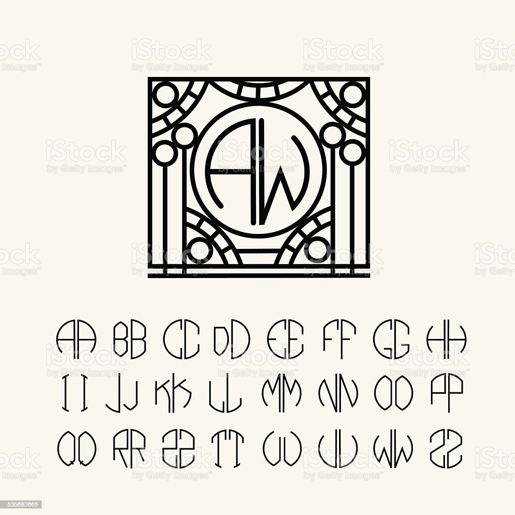 Monogram template with two letters inscribed in a circle stock monogram template with two letters inscribed in a circle royalty free stock vector art pronofoot35fo Images