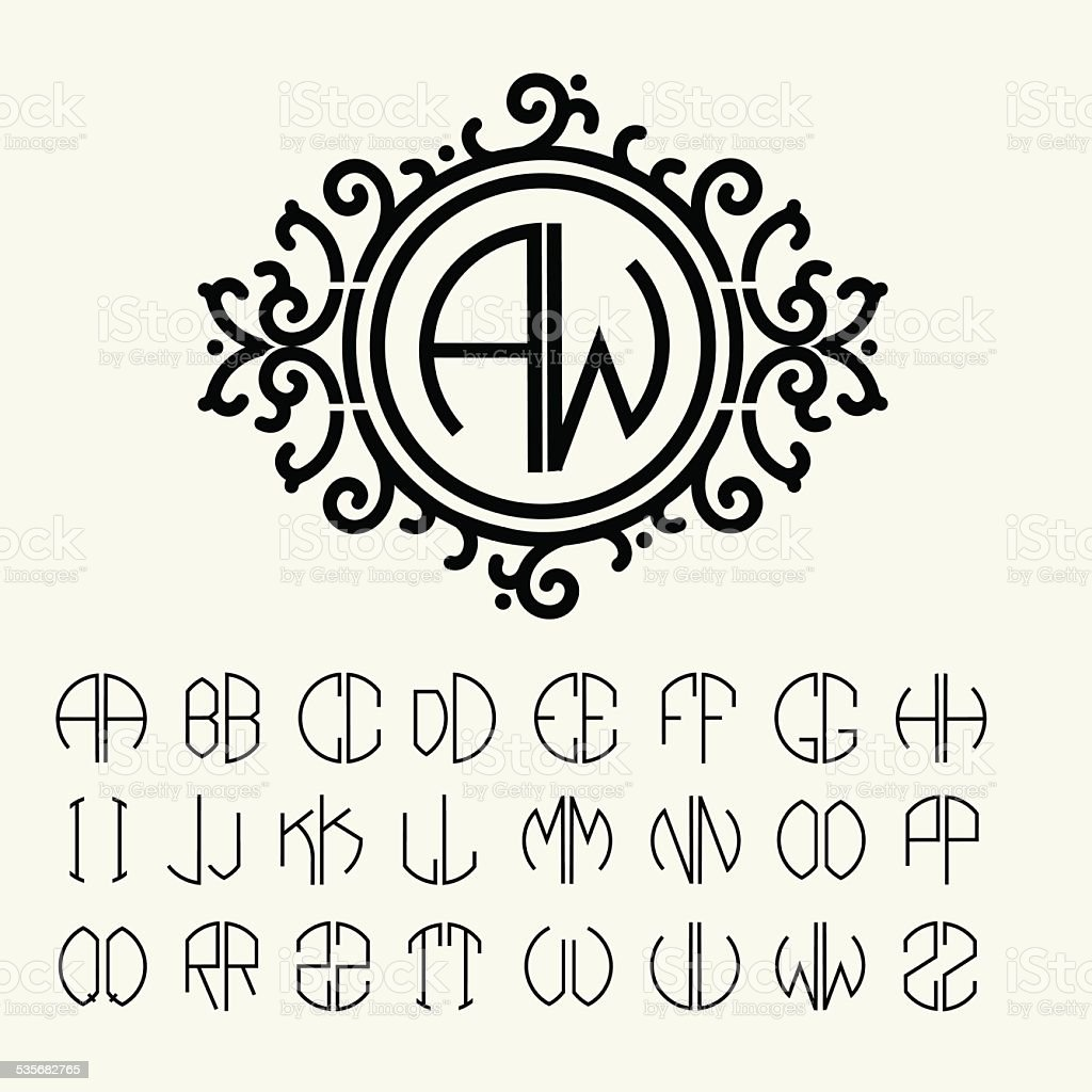 monogram template with two letters inscribed in a circle royalty free monogram template with two