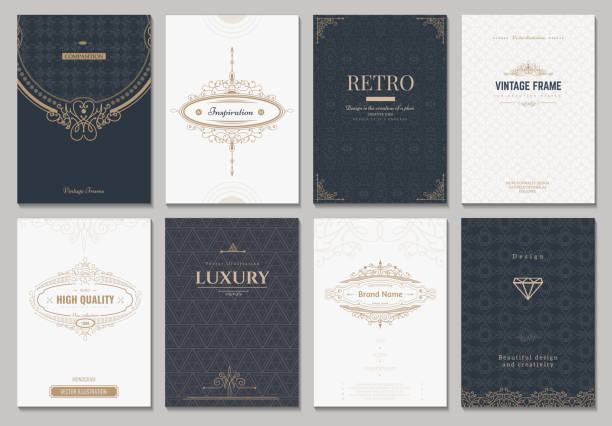 monogram vector creative cards - retro and vintage frames stock illustrations, clip art, cartoons, & icons