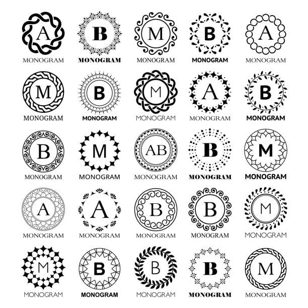 Monogram vector template design - big set. Elegant wedding or company monogram sign,  single letter and floral or abstract frame ornament Luxury label, template one or two letters. Simple emblem for hotel, retail and beauty industry in black isolated on white background celtic style stock illustrations
