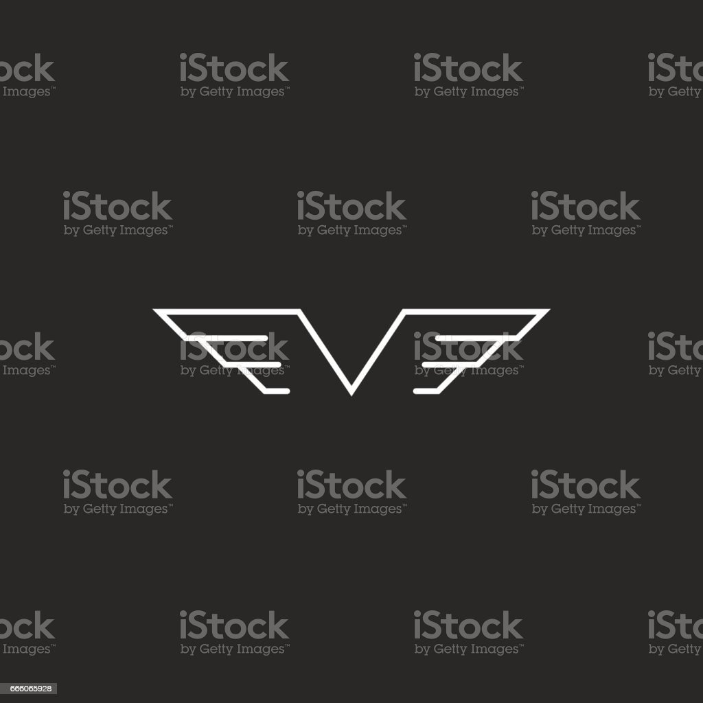 Monogram wings V letter icon, mockup creative emblem thin line style for wedding invitation vector art illustration